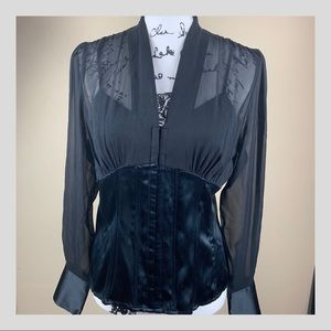 Black Sheer Blouse by INC size 12P
